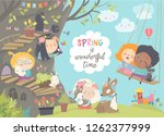 cute cartoon children with... | Shutterstock .eps vector #1262377999