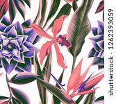 seamless floral pattern. botany ... | Shutterstock . vector #1262393059
