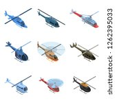 helicopter icon set. isometric...   Shutterstock .eps vector #1262395033