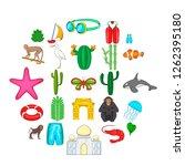 dry season icons set. cartoon... | Shutterstock .eps vector #1262395180