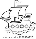 black and white illustration of ... | Shutterstock . vector #1262396290