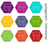 triumphal arch icons 9 set... | Shutterstock .eps vector #1262398129