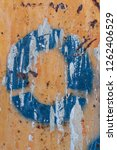 blue stencil painted on rusty ...   Shutterstock . vector #1262406529