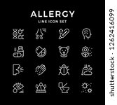 set line icons of allergy... | Shutterstock . vector #1262416099