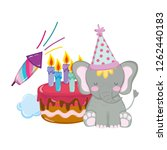 cute and little elephant with... | Shutterstock .eps vector #1262440183