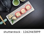 mochi assortment on plate with... | Shutterstock . vector #1262465899