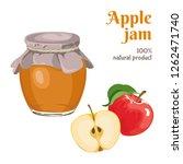 apple jam in glass jar isolated ...   Shutterstock .eps vector #1262471740
