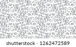 Stock vector flower pattern seamless white and gray ornament graphic vector background ornament for fabric 1262472589