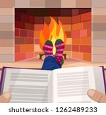 man with a book by the... | Shutterstock .eps vector #1262489233