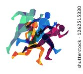 colorful people are running.... | Shutterstock .eps vector #1262515330