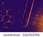 pills in test tube over blue... | Shutterstock . vector #1262522356