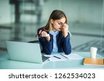 frustrated young woman keeping... | Shutterstock . vector #1262534023