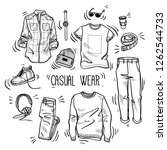 hand drawn set of men's casual... | Shutterstock .eps vector #1262544733