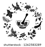 herbs and spices in a mortar. ... | Shutterstock .eps vector #1262583289