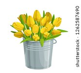 bouquet of yellow tulips in a... | Shutterstock .eps vector #1262587690