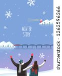 winter travel illustration | Shutterstock .eps vector #1262596366