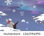winter travel illustration | Shutterstock .eps vector #1262596390