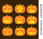 halloween pumpkins set   Shutterstock .eps vector #126260228
