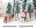 christmas winter snowman on... | Shutterstock . vector #1262622049