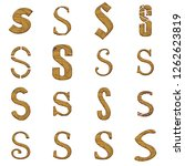 light brown wood letter s set... | Shutterstock . vector #1262623819