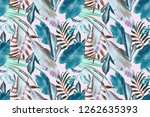 seamless tropical leaves... | Shutterstock . vector #1262635393