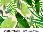 seamless tropical leaves... | Shutterstock . vector #1262635963