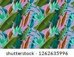 seamless tropical leaves...   Shutterstock . vector #1262635996