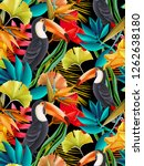 seamless design with toucan... | Shutterstock . vector #1262638180
