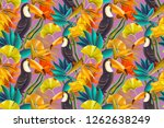 seamless design with toucan... | Shutterstock . vector #1262638249