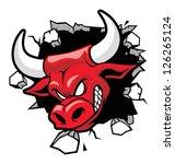 bull heading a wall