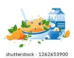 flat food with cup of tea  milk ... | Shutterstock .eps vector #1262653900