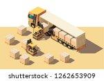 isometric 3d shipment truck... | Shutterstock .eps vector #1262653909