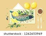 flat food with souce  lemon ... | Shutterstock .eps vector #1262653969