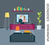 woman with cat watches tv in... | Shutterstock .eps vector #1262656210