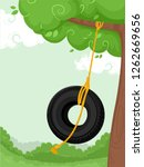Illustration Of A Tire Swing...