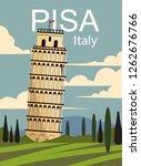 Pisa Retro Poster. Vector...