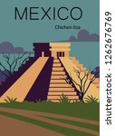Mexico Retro Post. Landscape Of ...