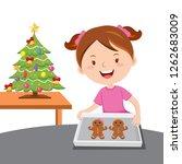 little girl baking gingerbread... | Shutterstock . vector #1262683009