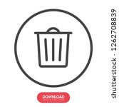 outline trash icon isolated on...