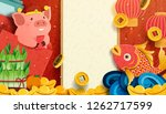 lovely pig and fish new year... | Shutterstock . vector #1262717599