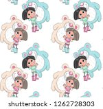 cute baby girl holding bear... | Shutterstock .eps vector #1262728303