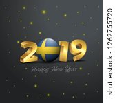 2019 happy new year sweden flag ...   Shutterstock .eps vector #1262755720