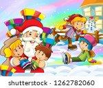 cartoon snow scene with santa...   Shutterstock . vector #1262782060
