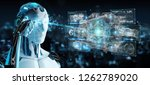 cyborg on blurred background... | Shutterstock . vector #1262789020