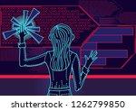 woman uses abstract user...