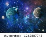 stars of a planet and galaxy in ... | Shutterstock . vector #1262807743