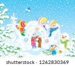 small children playing in their ... | Shutterstock .eps vector #1262830369