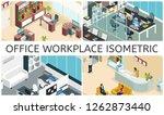isometric office interiors... | Shutterstock .eps vector #1262873440