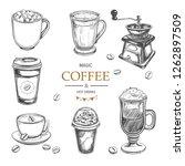 hot drinks menu design elements.... | Shutterstock .eps vector #1262897509