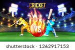 realistic cricket ball... | Shutterstock .eps vector #1262917153